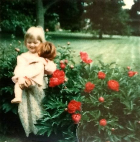 Me with my Chrissy Doll by Grandma's Peonies
