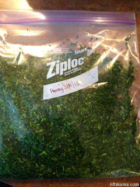Extra Parsley to freeze