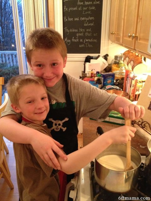 PJ and John making tetrazzini