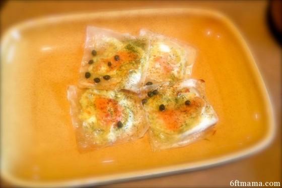 creamy salmon wonton ravioli