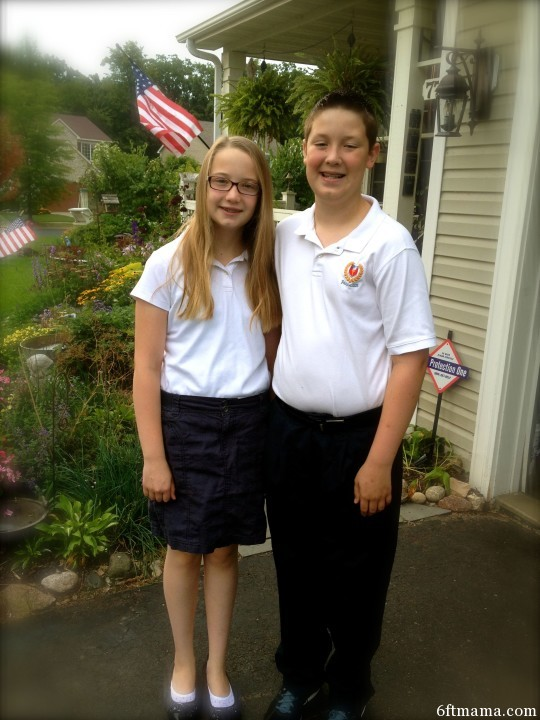 Emma and Will First Day of School at Parnassus Preparatory 2013