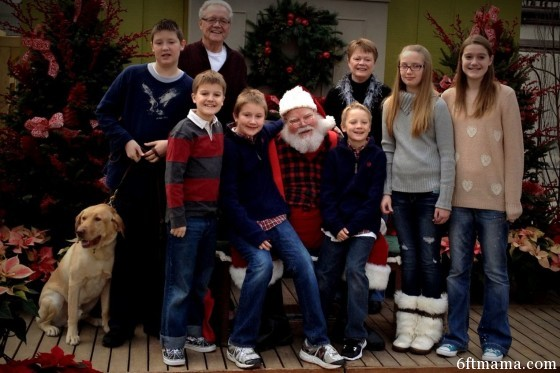 mom and dad with all grandkids Santa my shot 6ftmama.com
