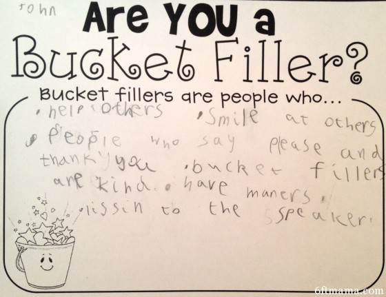 Bucket filler 6ftmama.com