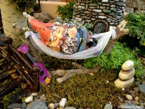 Gnome in Hammock Clay Pot Kingdom 6ftmama.com