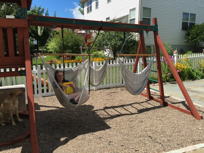 Hammock Swings on the swingset August 2016 6ftmama blog