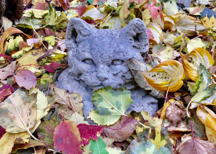 Cat statue covered in leaves 6ftmama blog