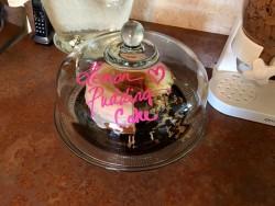 Lemon Pudding Cake Marked on Cake Plate with Expo Marker 6ftmama blog